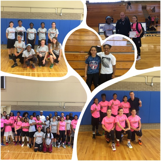 (L-R) - 10am Gray Team; Jasmine Peaks & Brianna Ellis; Kailyn Gilbert & Kali Barber; 10am Pink Team; 11:30 Both teams